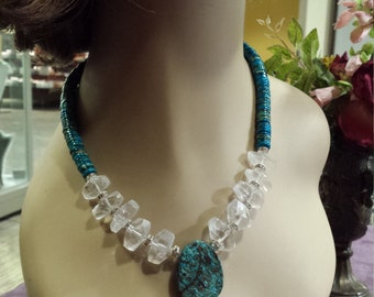 One strand dynasty jasper, faceted crystal quartz necklace