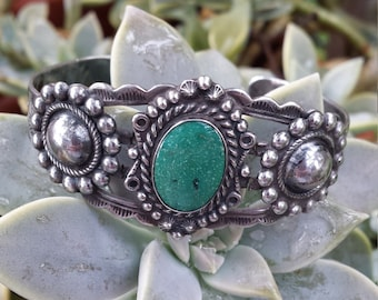 Native American sterling silver turquoise vintage cuff