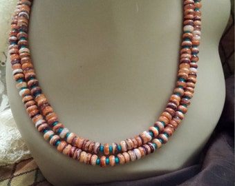 Two strand spiny oyster and turquoise necklace designed by petronella designs