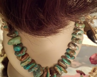 Large natural turquoise nugget necklace