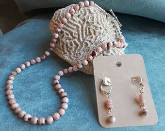 Rhodonite necklace and earring set
