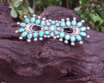 Native American sterling silver turquoise brooch