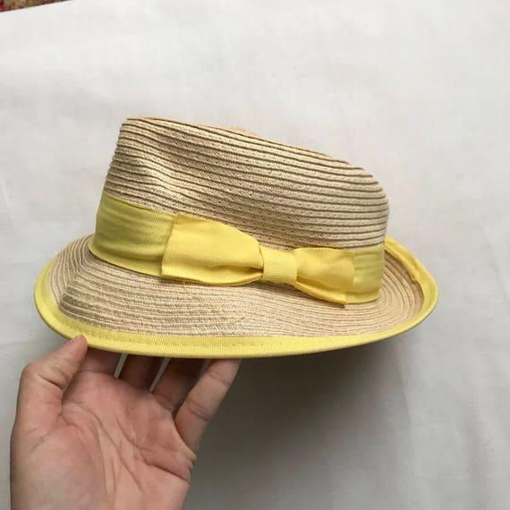 yellow straw hat, straw hat, summer hat, 90s hat,… - image 1