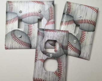 Distressed Baseball Sport,boys Girls, Teen Room, Playroom, Light Plate  Cover,light Switch Plate, Outlet Cover, Outlet Plate, Home Decor,