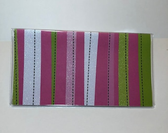 No wait Ready to Ship Vinyl Checkbook cover Glitter Dusty Teal // Turquoise Scrapbook style,Duplicate or Single Checks