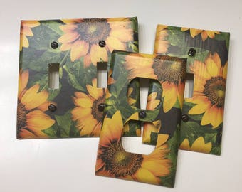 Sunflowers, Fall Floral, Kitchen Bedroom, Bathroom, Light Plate Cover,light Switch  Plate, Outlet Cover, Outlet Plate, Home Decor, Wall Art