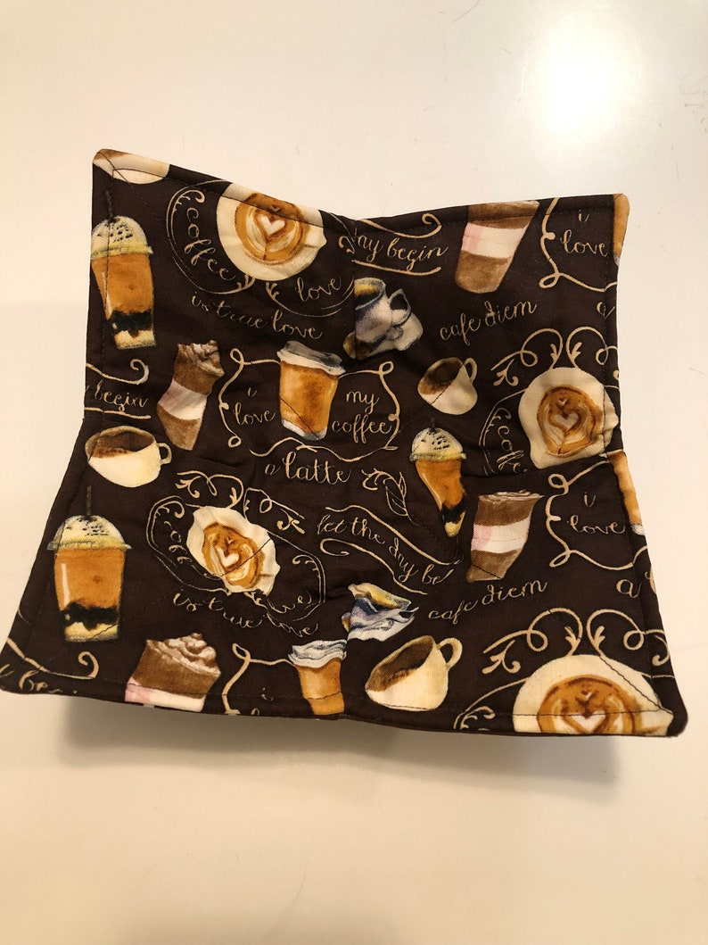 Whimsical Coffee Hot or Cold Bowl CozyPot Holder All Cotton image 0