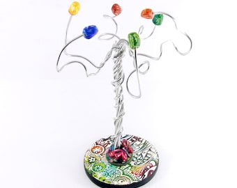 Colorful tree jewelry holder