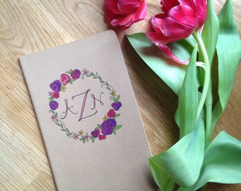 Journal : Custom Name or Monogram with Floral Wreath