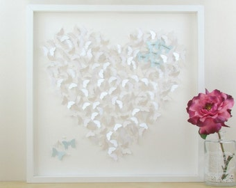 Framed Wall Art, Personalised Framed Art. 3D Butterfly Heart Wall Art. Perfect Wedding Gift, Anniversary Gift or Birthday Gift. 3D Paper Art