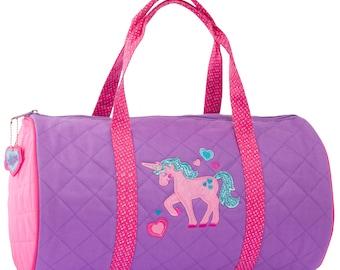 19e2ad9ce1 Unicorn Quilted Duffle Bag Stephen Joseph Children s Duffle Bag Overnight  Sports Gymnastics Cute Ballet Unicorn Applique Bag