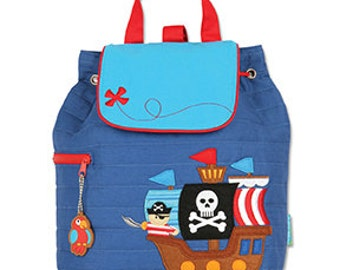 06473cb3983 Pirate Ship Quilted Backpack Stephen Joseph Children's Backpack Toddler  School Preschool Cute Ship Bag