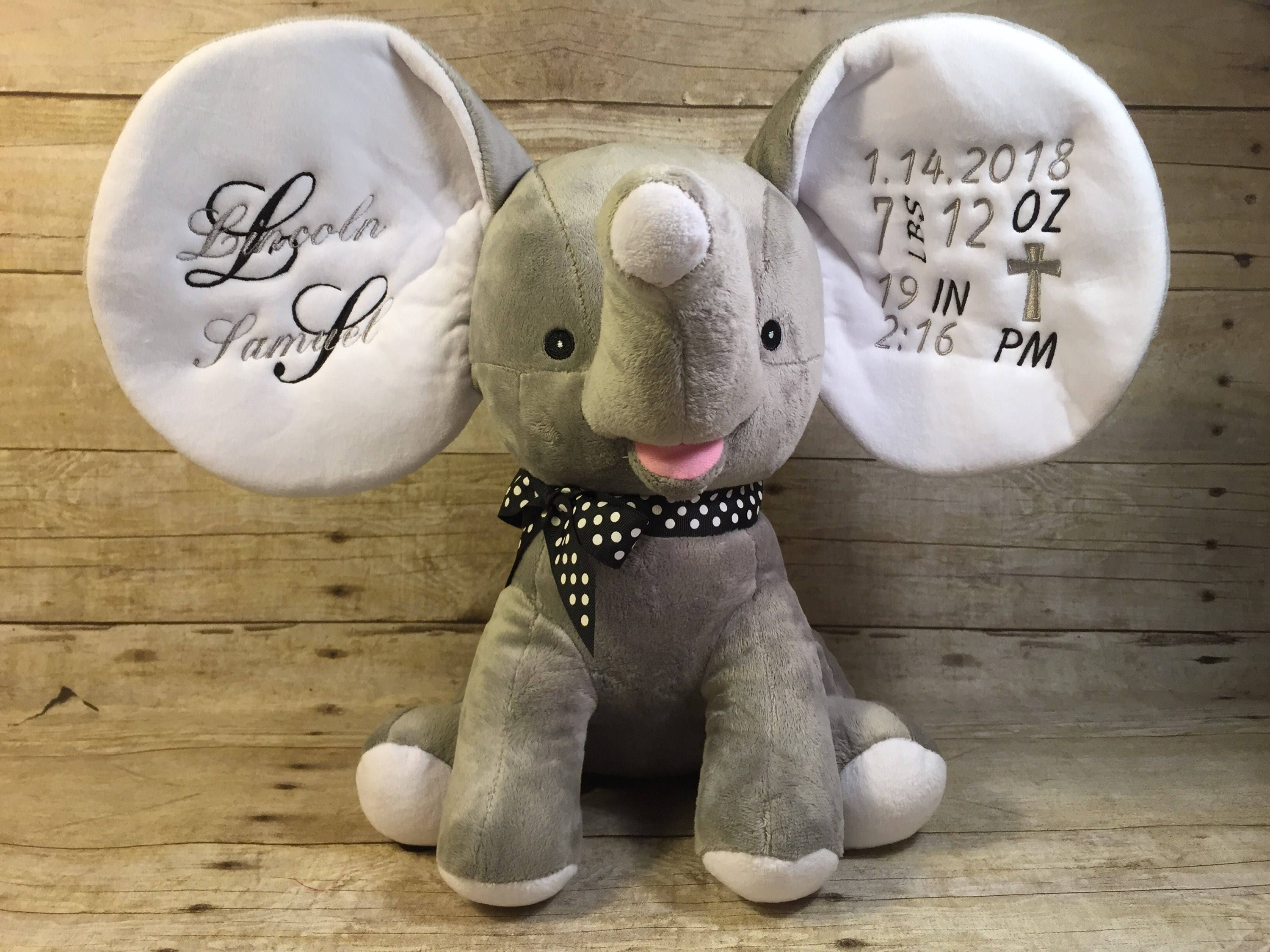 Personalized Birth Announcement Grey Elephant Stuffed Animal Plush Baptism