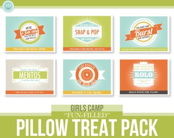 """LDS Young Women Girls Camp - """"Fun-Filled"""" - Pillow Treat Tags Pack - MB"""