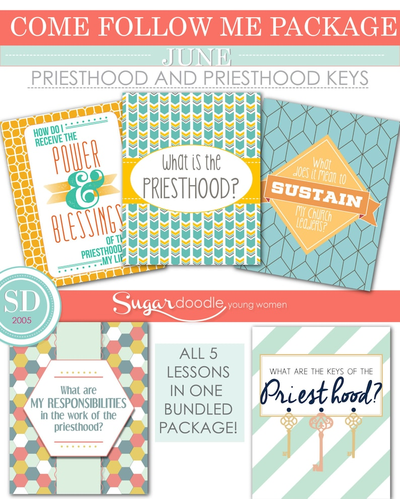 LDS YW Come Follow Me - June - Bundled Package - Priesthood and Priesthood  Keys - Printable Lesson Helps - MB