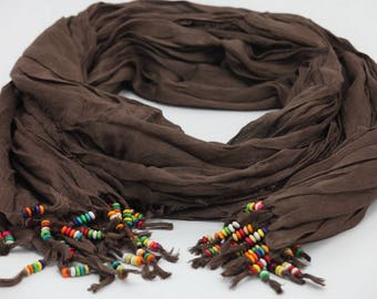 Brown scarf,Beaded Scarf , Womens  Scarves,  Scarf,colored beaded
