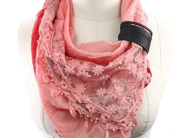 Orange Scarf,Triangle Scarf, floral Scarf,Lace scarf, Cotton scarf,Shawl, Neck Wrap,Summer Scarf