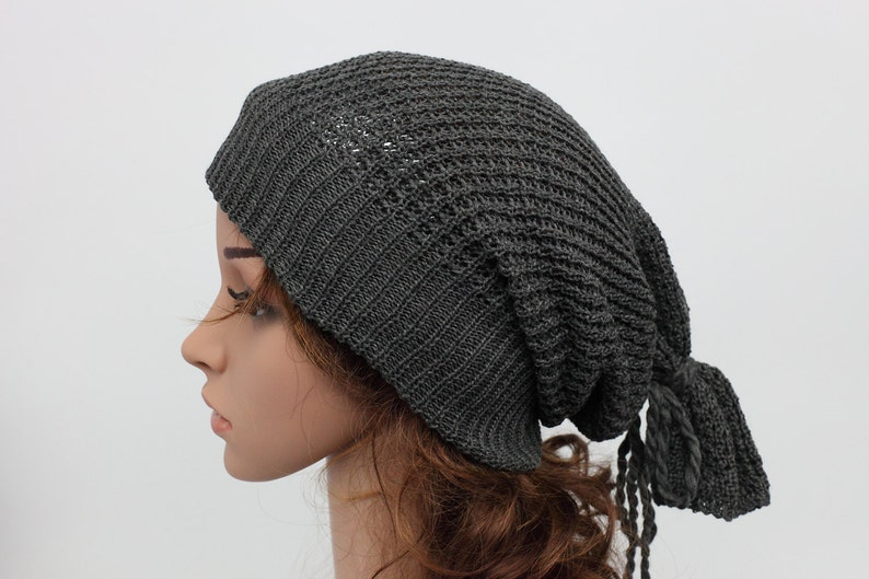 418e53370aa Slouchy knit hat Beanies Womens Hats Long Back Crochet
