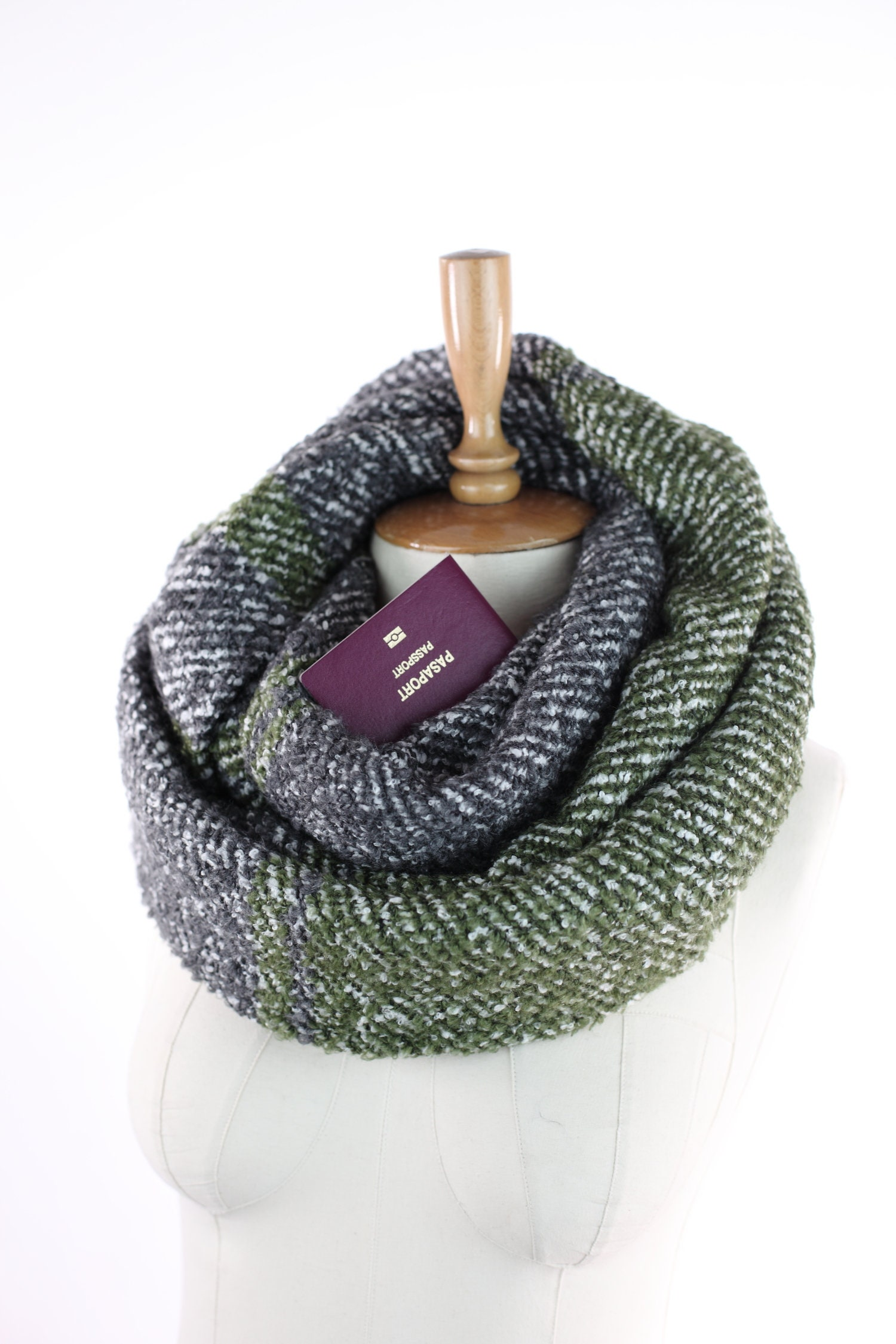 Travel scarfinfinity scarfsecret pocket scarf newport etsy for Travel scarf