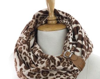 leopard fleece Neck warmer   infinity scarf circle scarf winter scarfs neck warmer cowl  fashion scarves