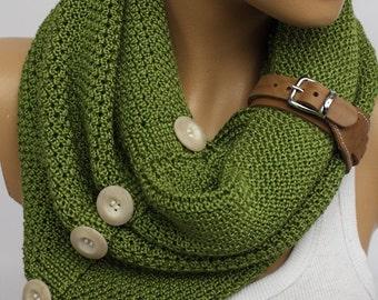 Green scarf,Leather cuff circle scarf winter scarfs neck warmer cowl birthday gifts