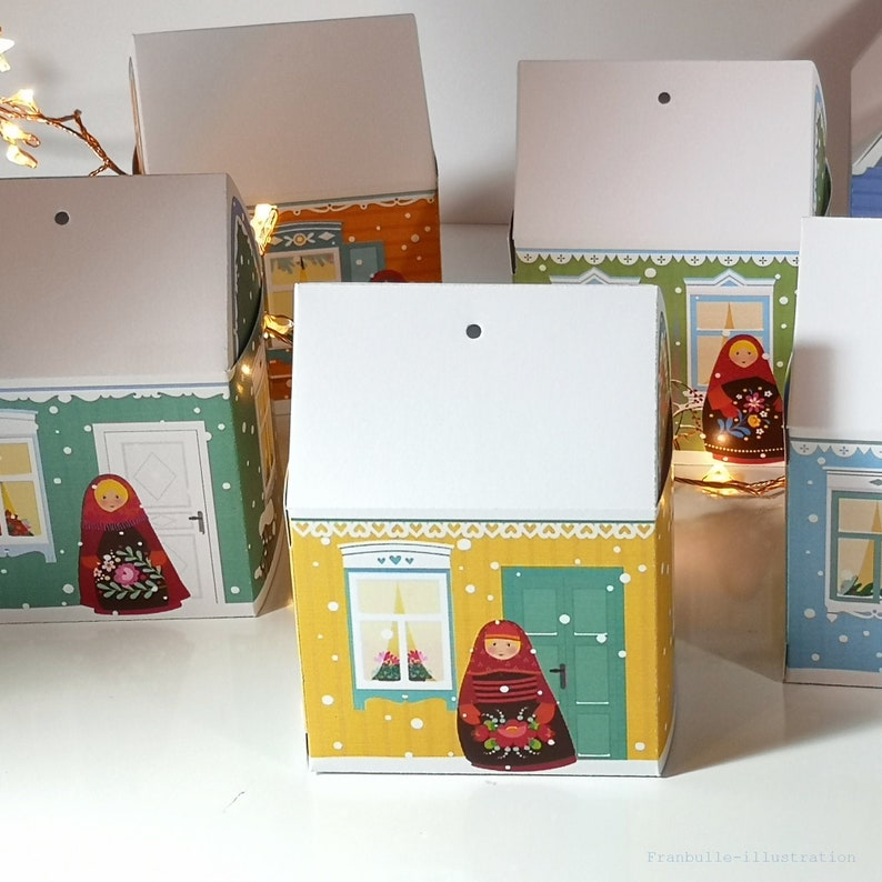 Miniature house boxes isbas and matriochkas DIY packaging image 0