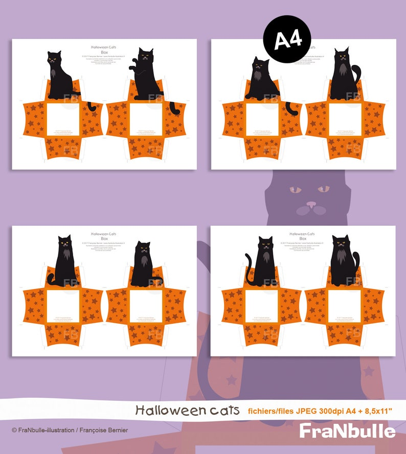 black cat Halloween party Printable Halloween candy box Halloween cat cat A4 US-Letter size sweet box Halloween printable Halloween