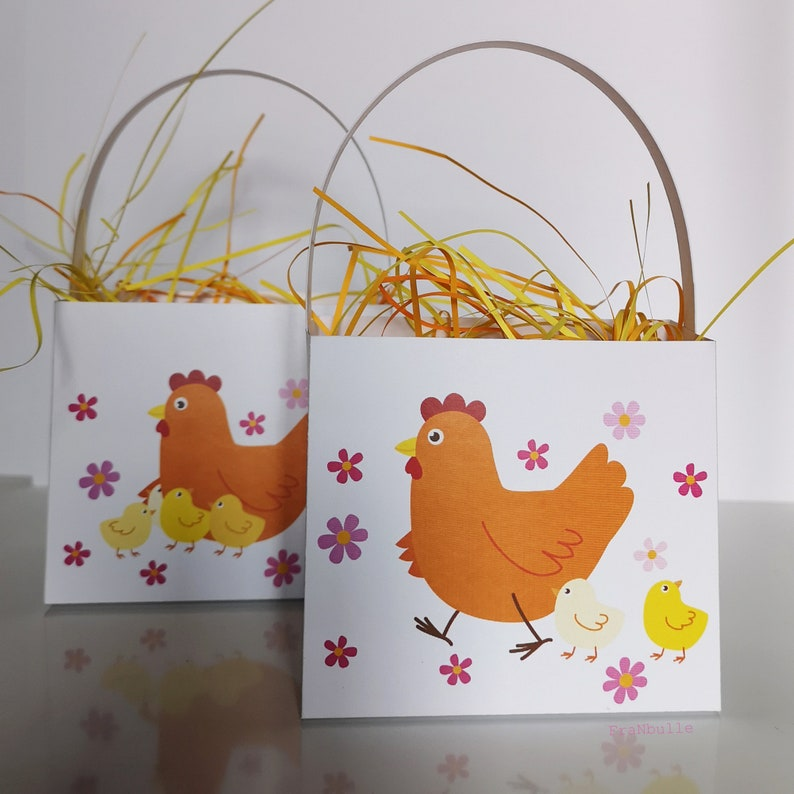 Printables. Easter large baskets with red hen and her chicks image 0