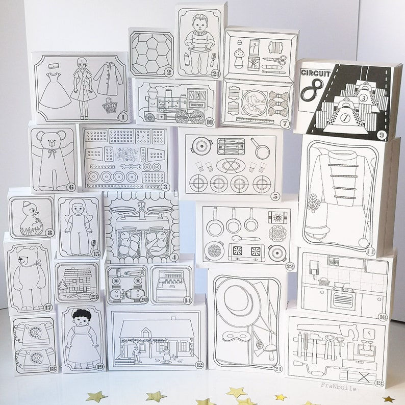 Advent Calendar to print and color Vintage Toys. image 0
