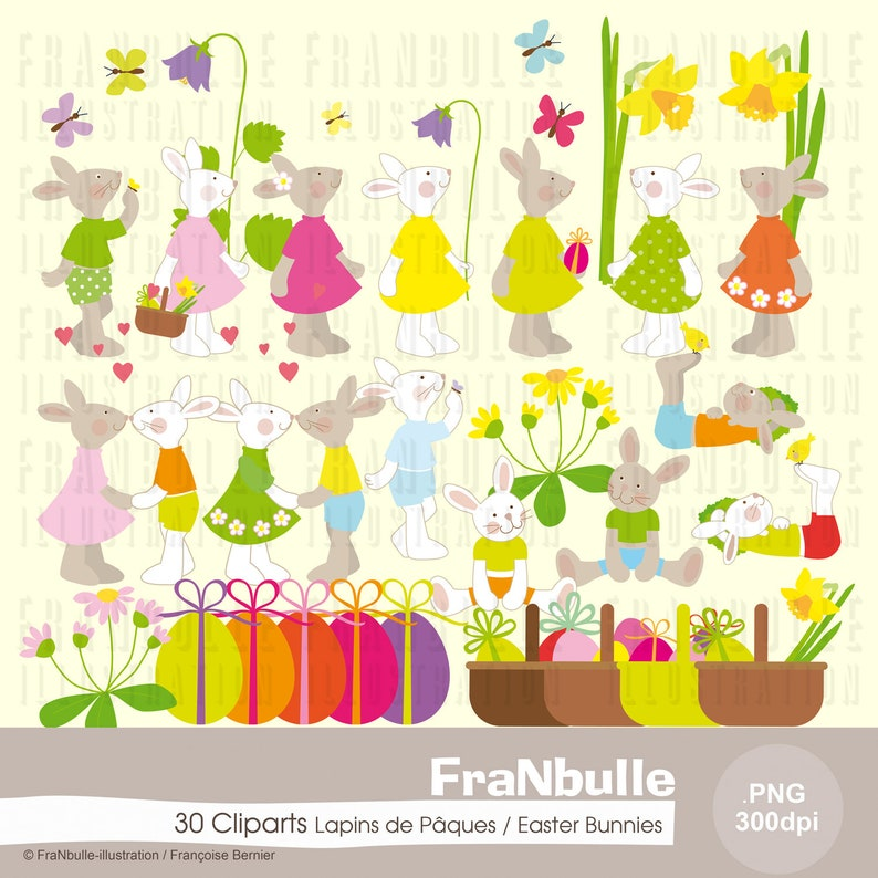 Easter clipart with little rabbits clipart .png to make image 0