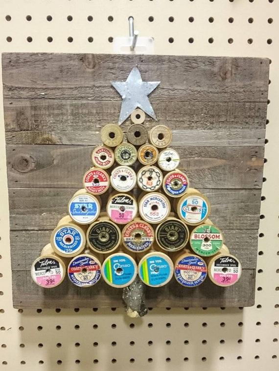 Tree Wall Decor Handmade Spool Christmas Tree Vintage Spools On New Wood Block