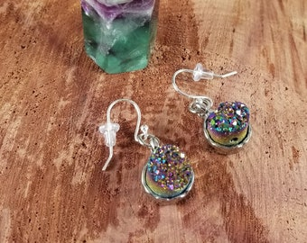Rainbow Aura Quartz Druzy Earrings w/ Sterling Silver Earhooks! ~Witch, Mystic,
