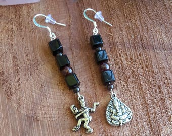 Dancing Shiva (Nataraja) and Ganesha Charm Earrings: Garnet and Jet Beads, Sterling Silver Ear hooks! ~Boho, Witch, Mystic, Jewelry