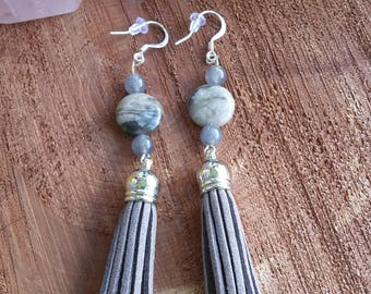 Petrified Wood (beads), Gray/Blue Iolite w/ Gray Faux Suede Tassels and Sterling Silver Ear Hooks! ~Boho, Witch, Mystic, Jewelry