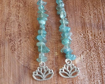 Blue Apatite Chip Earrings w/ Lotus Flower Charm, and Sterling Silver Ear Hooks! ~Boho, Witch, Mystic, Jewelry