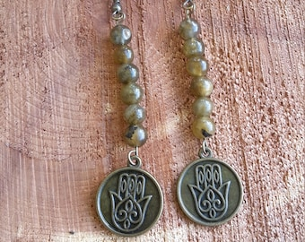 Golden Flash Labradorite (Yellow Labradorite) Earrings w/ Hamsa Charm and Antiqued Gold Nickel Free Ear Hooks! ~Boho, Witch, Mystic, Jewelry