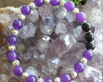 Evil Eye Protection Mala: Purple Fluorite, Black Jasper, and Silver Eye Beads! ~Boho, Witch, Mystic