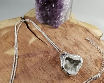 Clear Quartz Druzy Silver Plated Geode Pendant w/ 36 inch Silver Beaded Chain! ~Witch, Boho, Mystic