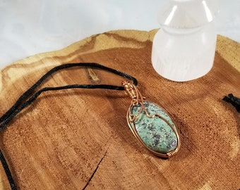 Ruby Zoisite Copper Wire Wrapped Pendant w/ Silk Cord! ~Witch, Mystic, Magick