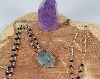 Blue Labradorite Gold Tone Pendant w/ 36 inch Beaded Onyx Chain! ~Witch, Boho, Mystic