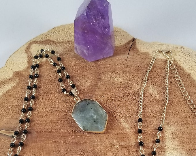Featured listing image: Blue Labradorite Gold Tone Pendant w/ 36 inch Beaded Onyx Chain! ~Witch, Boho, Mystic