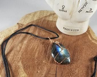 Blue FLASHY Labradorite Copper Wire Wrapped Pendant w/ 30 inch Silk Cord! ~Witch, Mystic, Magick