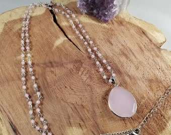 Faceted Rose Quartz Silver Pendant w/ 36 inch Silver Beaded Chain! ~Witch, Mystic
