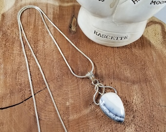 Dendritic Opal Sterling Silver Necklace w/ 24 inch Stamped 923 Silver Chain! ~Mystic, Witch, Reiki, Gemstones