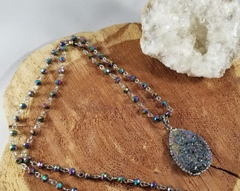 Rainbow Aura Quartz Druzy Pendant w/ 36 inch Beaded Chain! ~Witch, , Mystic