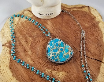 Sea Sediment Jasper, Silver Tone Tone Pendant w/ 36 inch Turquoise Beaded Chain! ~Witch, Boho, Mystic