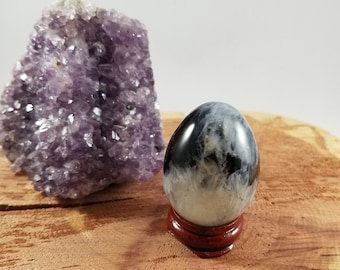 Evil Eye Agate (a.k.a Bulls Eye Agate or Orbicular Agate) Yoni Egg w/ Stand!~Yogi, Meditation, Witch, Mystic, Sacred Sex