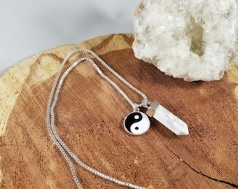 Howlite Generator Point Pendant w/ Silver Plated Yin & Yang Charm and 18 Stamped 923 Silver Chain! ~Witch, Mystic, Balance