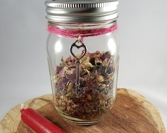 Love Attraction Witch Jar w/ Skeleton Key Charm: Altar, Magick, Manifestation, Ritual