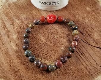 Leopardskin Jasper w/ Bamboo Coral & Red Ceramic Skull Guru Bead! ~Witch, Mystic,